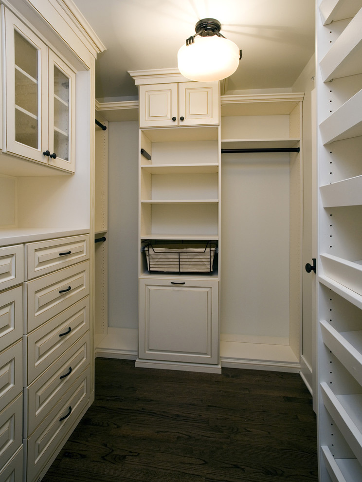 contemporary walk in closet in white with wire made basket for storage