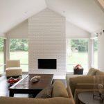 Contemporary White Brick Fireplace Idea Beige Furniture Set