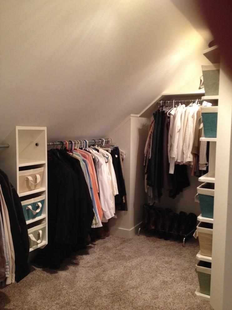 corner walk in closet idea chrome hang sections vertical basket arrangement for storage