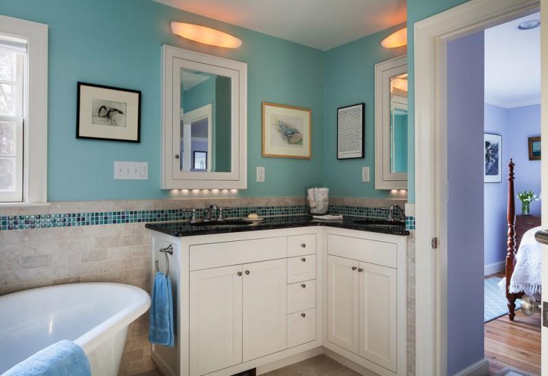 corner white bathroom vanity idea with black countertop white frame vanity mirrors recessed vanity lamps