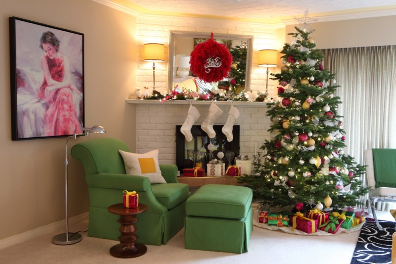 corner white bricks fireplace freshly green armchair green ottoman chair sets of Christmas accessories a huga Christsmas tree