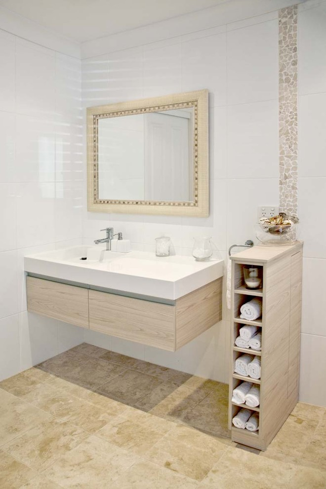 floating minimalist vanity idea with huge modern white sink and faucet wood color framed mirror tiny vertical shelves idea