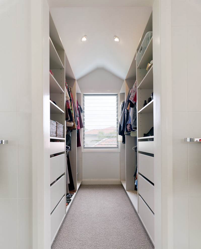 high and narrow walk in closet for a dressing room medium size window with glass panels white flat panel cabinets white open shelves white lower and upper hang sections