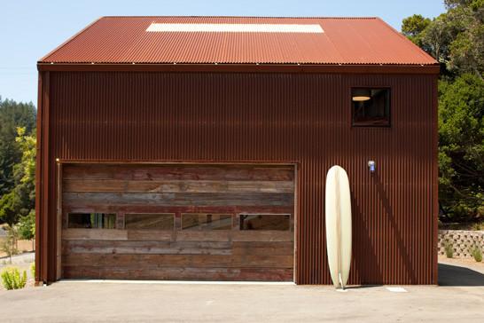industrial garage idea with minimalist and shabby cool wood garage door