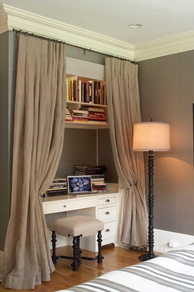 mini home office with long height curtains white working table a vanity chair and open book rack