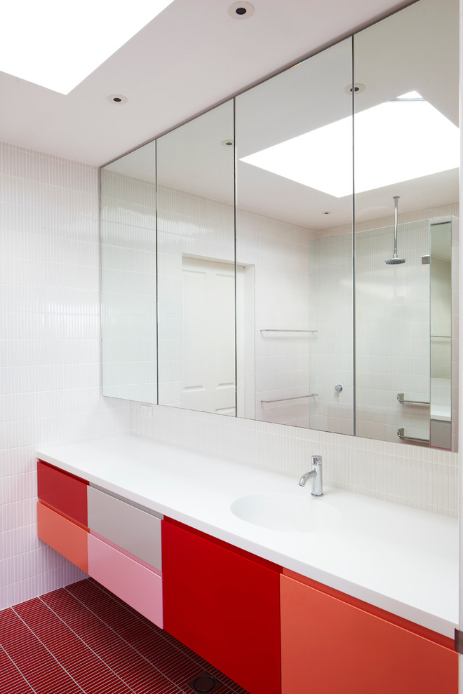 multicolor floating vanity with full wall mirror