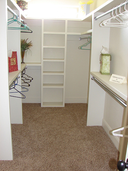 quite small yet space efficient walk in closet idea in white