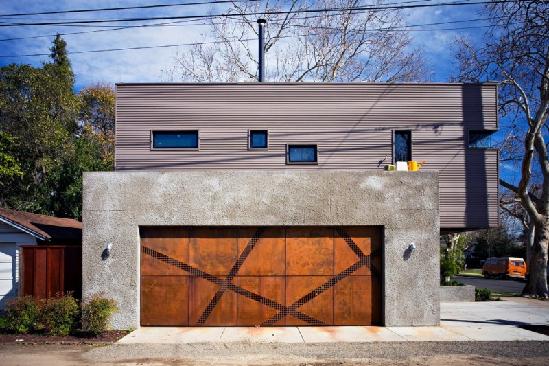 recycled metal garage door idea with X shaped decoration