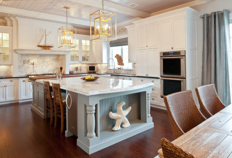 seaside L shape kitchen concept with white countertop turquoise kitchen island with white marble surface dark and glossy wooden floors white cabinets stainless steel appliances