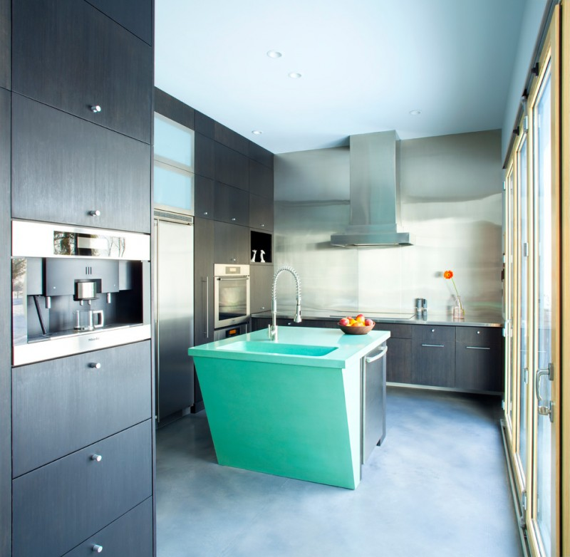 simple turquoise kitchen island with turquoise undermount sink dark hardwood kitchen cabinets stainless steel appliances