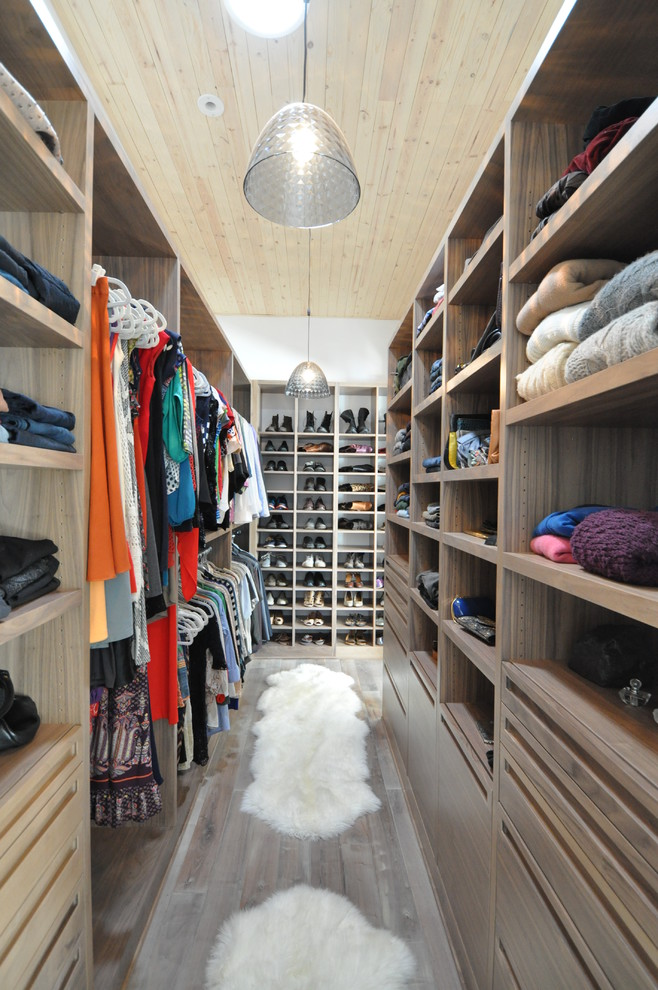 trendy walk in closet for neutral gender storage system white fury rugs shoes rack lower and upper hang sections open shelves