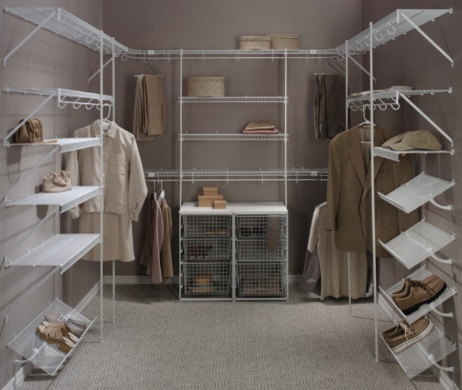 walk in closet idea with lightweight metal racks in white