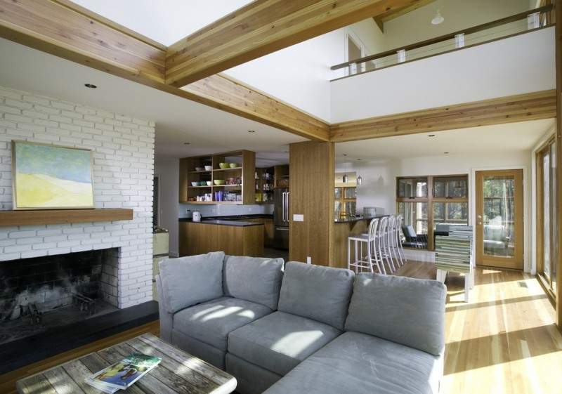 white brick fireplace for open space light blue sofa with chaise shabby rustic coffee table