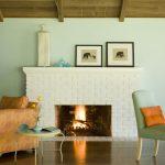 White Painted Brick Fireplace Idea Chic And Vivid Furniture Set Gloss Finish Hardwood Floor System