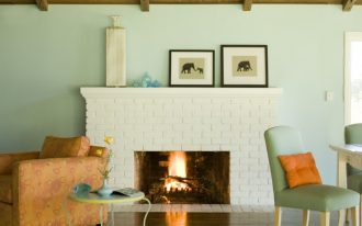 white painted brick fireplace idea chic and vivid furniture set gloss finish hardwood floor system