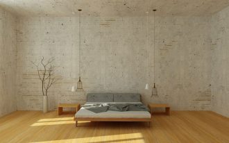 brick walls bedroom