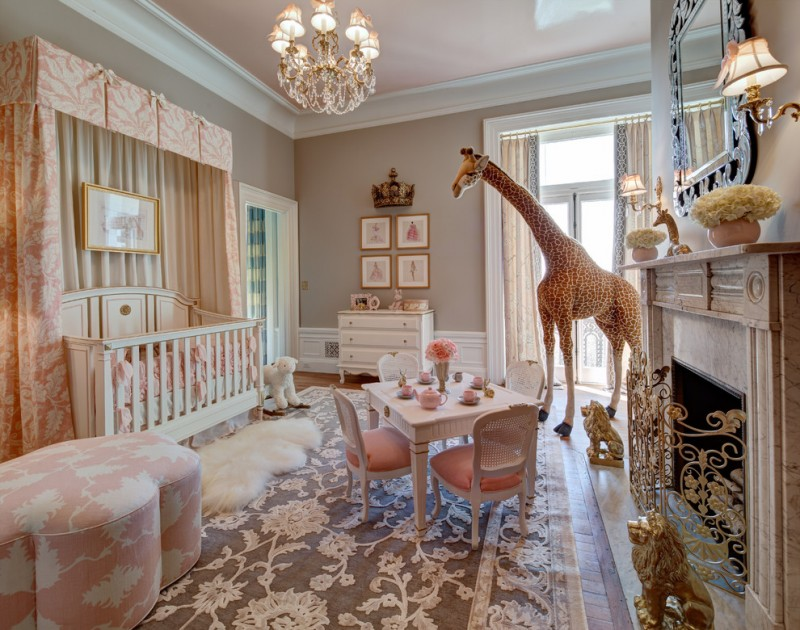 baby girls' traditional nursery blushy pink nursery chair with white accents small white shag rug light toned baby crib with fabric canopy traditional carpet with floral motifs a set of kids' tea furn