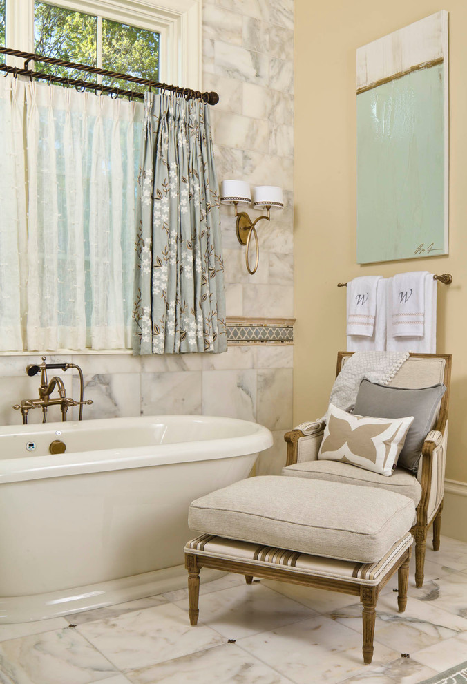 basement bathroom in traditional style marble walls cream walls traditional white bathtub blackout cafe with white sheer