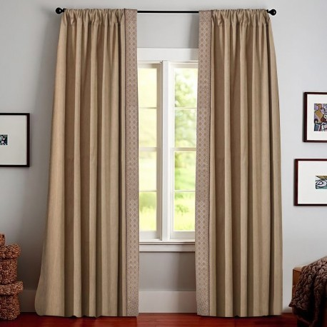contemporary basement window curtains in soft brown color