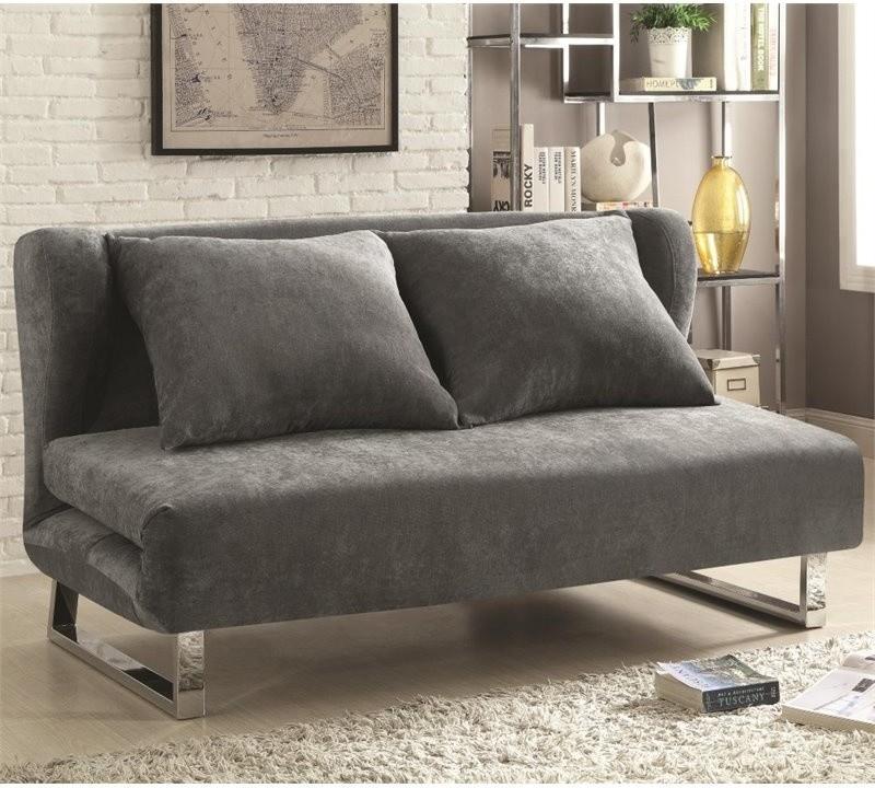 convertible sleeper sofa looks like folded futon in grey