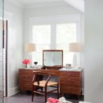 Craftsmanship Makeup Vanity Table With Marble Top Outlets And Flip Up Mirror