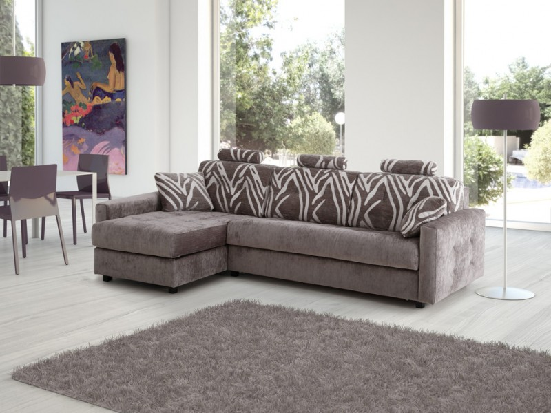 dark grey sleeper couch with white print accents head rest arm rest and sectional lounge