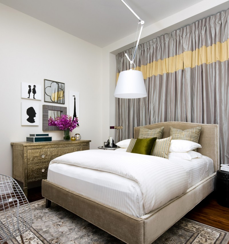 eclectic bedroom for basement glossy silver window curtains highlighted with bright yellow golden hall console white walls beige bed frame with headboard dark toned wood floors
