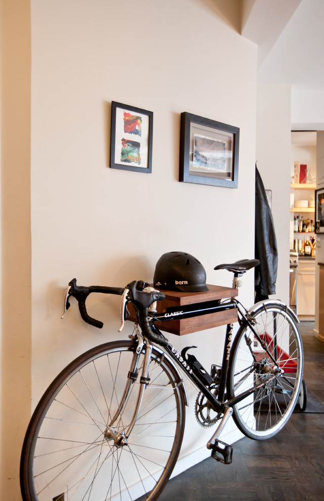 eclectic entry hall wall mounted bike rack with helmet shelf