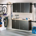 Garage Storage Solution Floating Silver Cabinets With Wood Countertop Metal Hook Panelings For Bike Gardening Tool And Sport Equipment