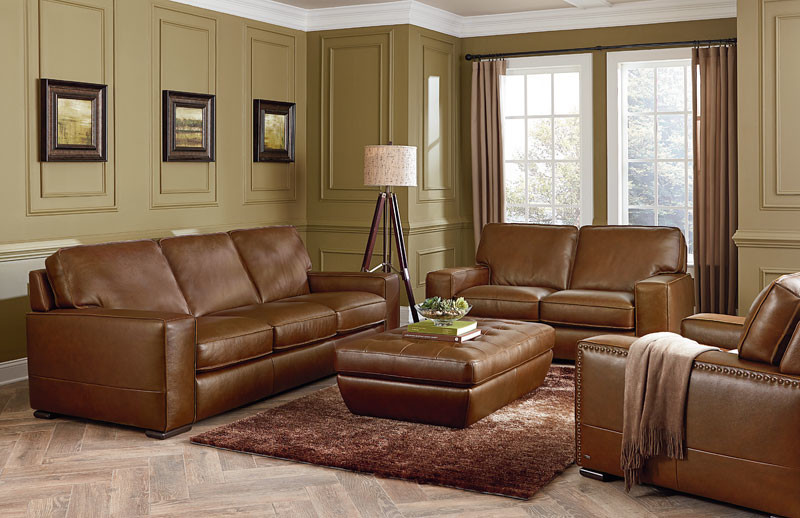 light tan brown leather sleeper couch and coffee table fluffy brown shag rug