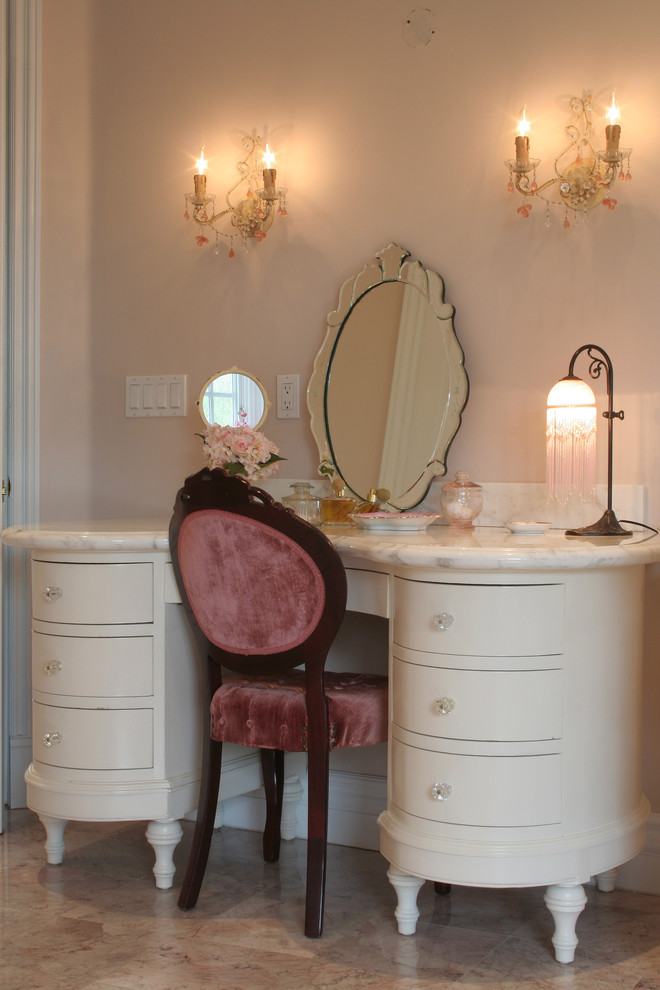 marvelous dressing table with curved lines details drawer system frameless mirror marble top
