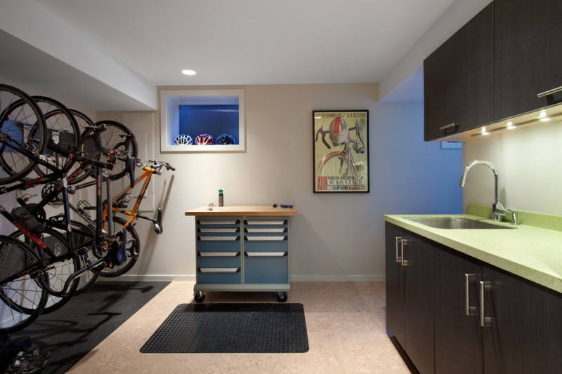 mid century modern kitchen basement with racing bike displays mounted on walls