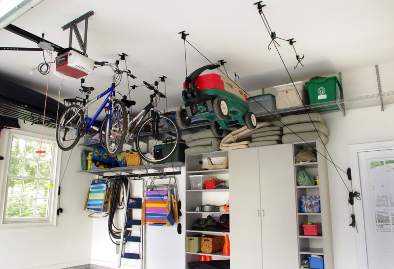 modern garage idea hanging bike storage