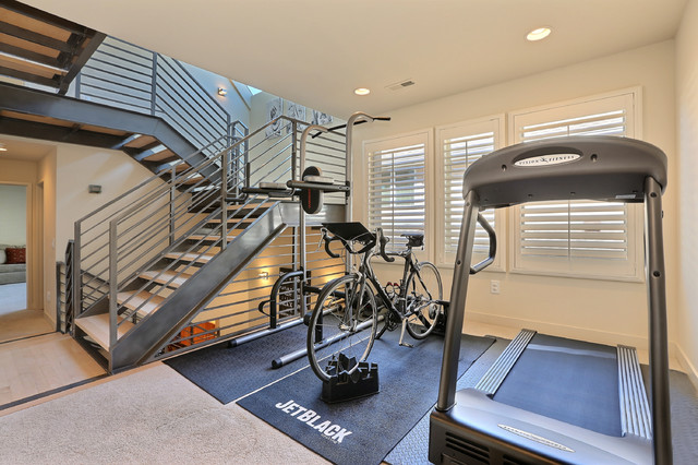 modern home gym with kickstand for bike treadmill