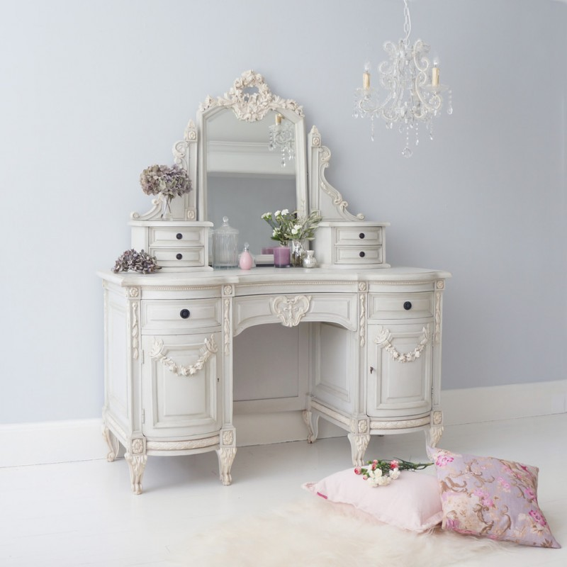 pale toned antique makeup vanity table with ivory accents antique chandelier