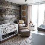 Rustic Style Nursery Idea Shabby And Dark Toned Wood Board Walls Crib With Patterned Fabric Cover Textured Rug Soft Brown Nursery Chair And Table