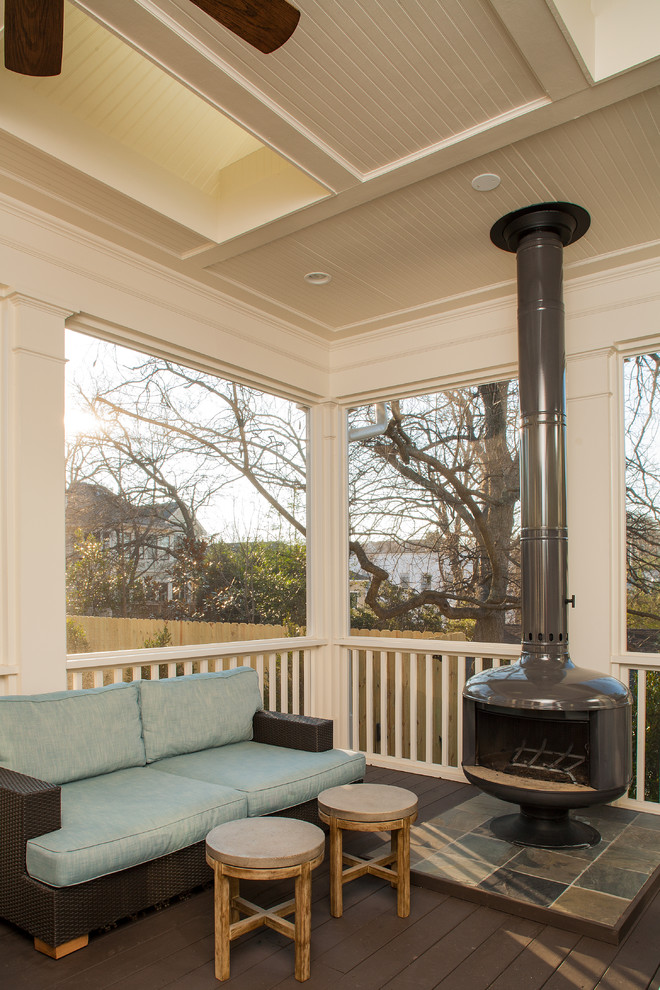 screened front porch idea light blue sectional with dark construction a couple of wood side table with round top black fire drum