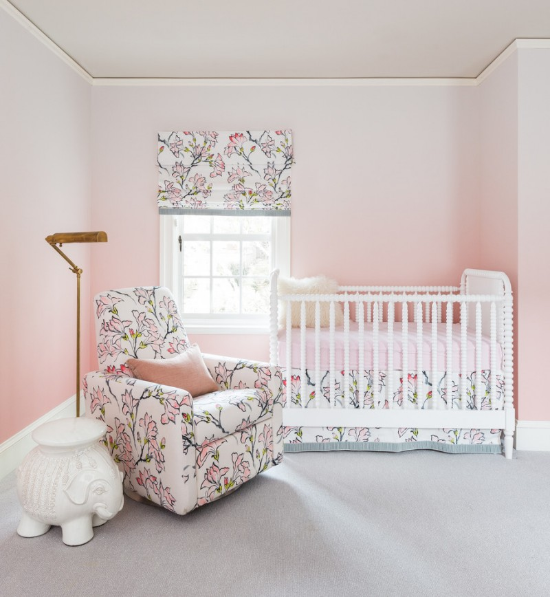 shabby & chic nursery idea pink gradation walls white baby crib baby blue rug nursery chair with light colored floral motifs unique white side table