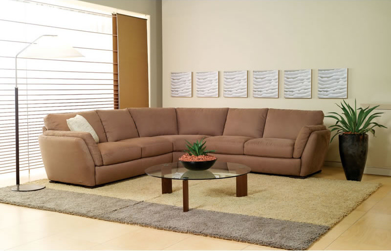 soft neutral sleeper sofa in modern style round shaped glass top coffee table fluffy area rug light toned wood floors