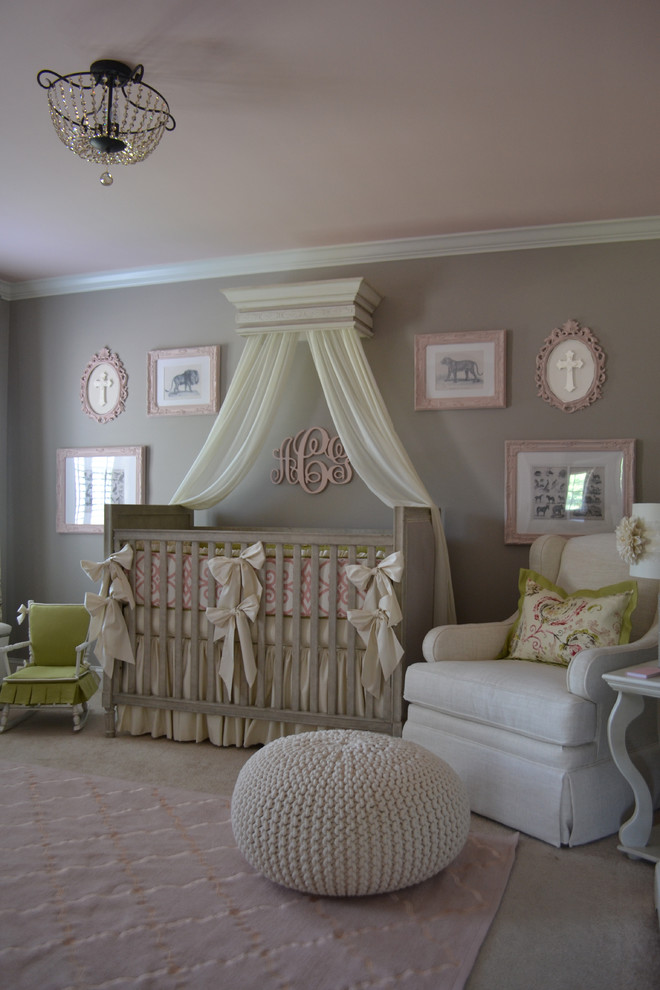 traditional baby nursery playful soft pink embroided rug white cotton knitted pouf white leather nursery chair with slipcover grey vintage baby crib grey vintage walls playful pink ceilings
