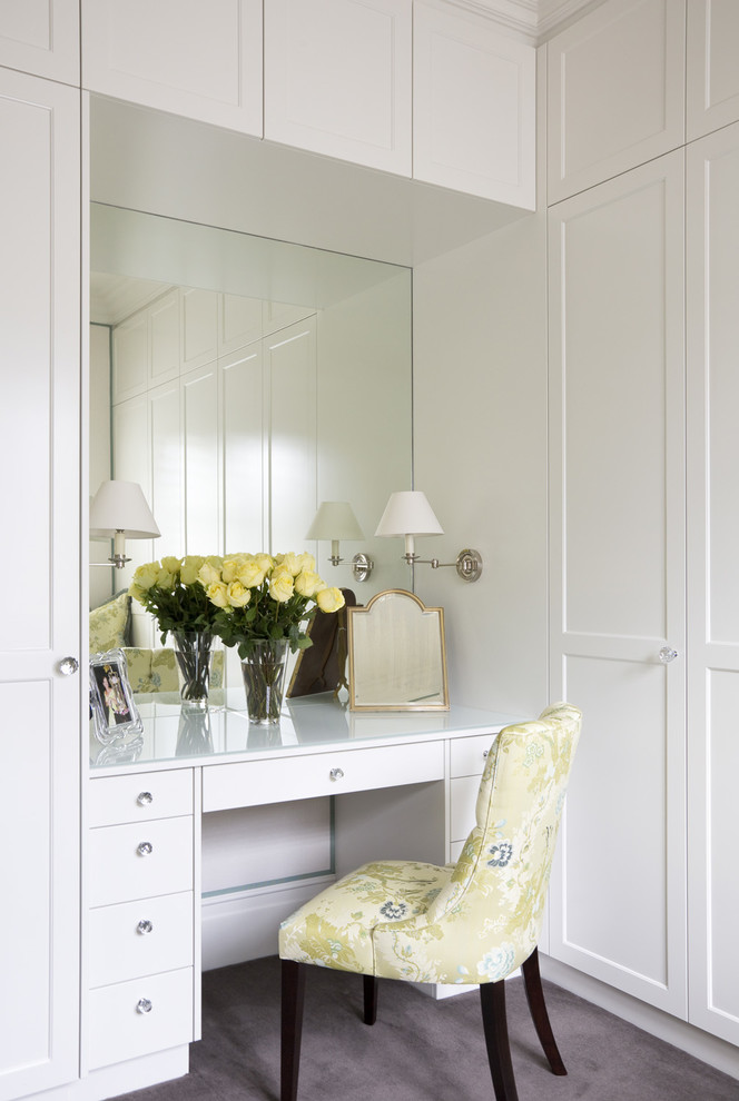 traditional makeup vanity with recessed and frameless mirror soft yellow vanity chair with flower motifs