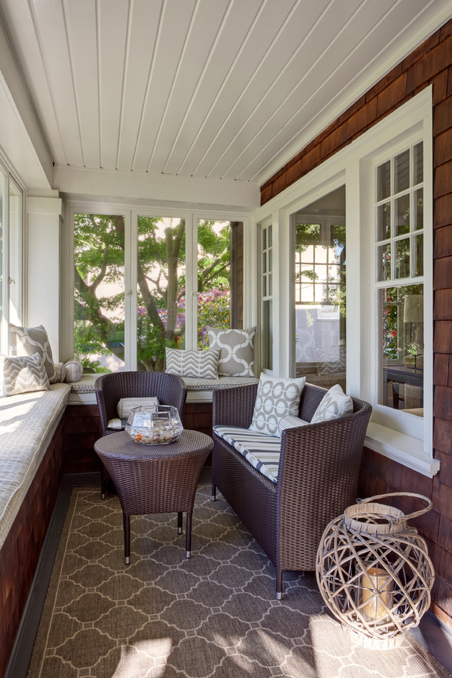 traditional screened front porch idea benches under bay windows dark toned rattan seats and table