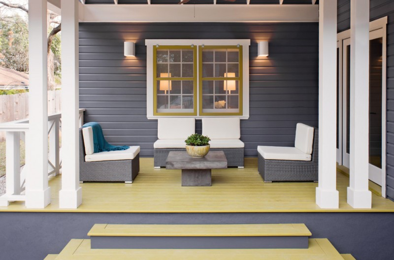transitional front porch idea grey siding exterior walls yellow trimmed exterior window modern grey seats with white covered foams yellow floors
