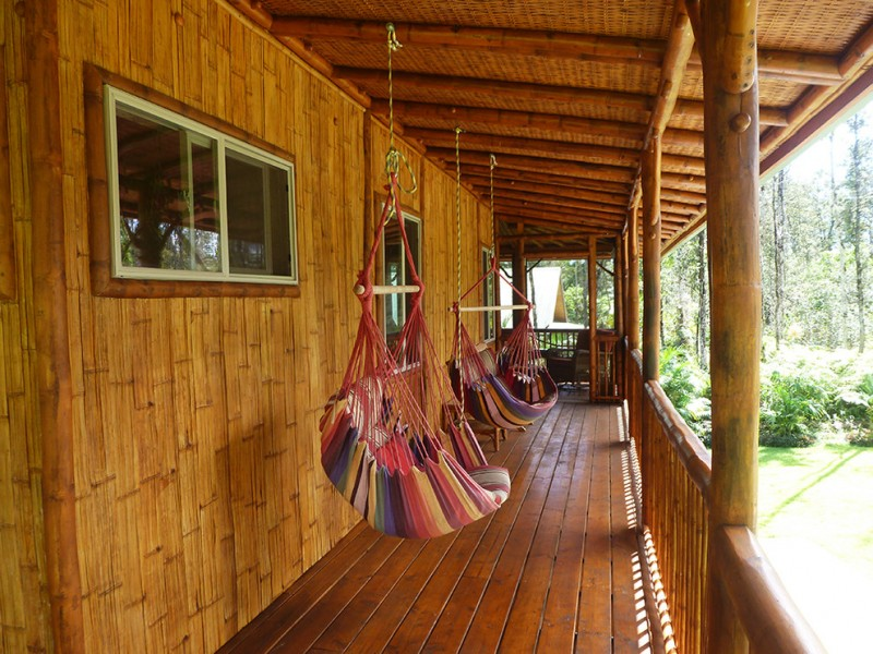 tropical style front porch bamboo front porch and exterior beach style lounge swings in multicolor