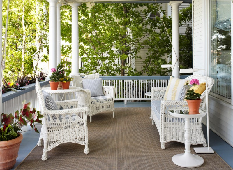 white seats in vintage earthy area rug low level rails in white