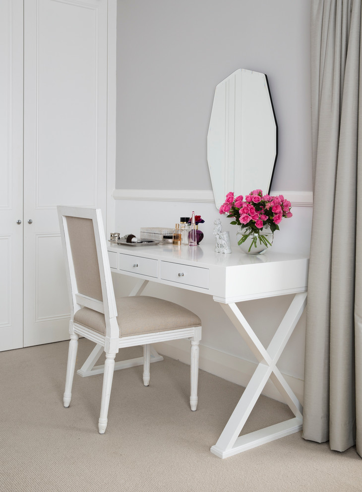 x base makeup vanity table in white separated mirror without frame white trimmed chair with white frame