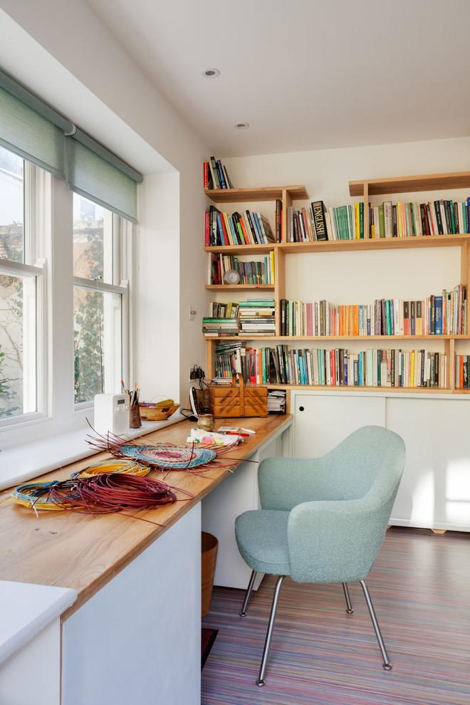 clean lines home office idea wood top working desk light blue sea working chair wood bookshelves