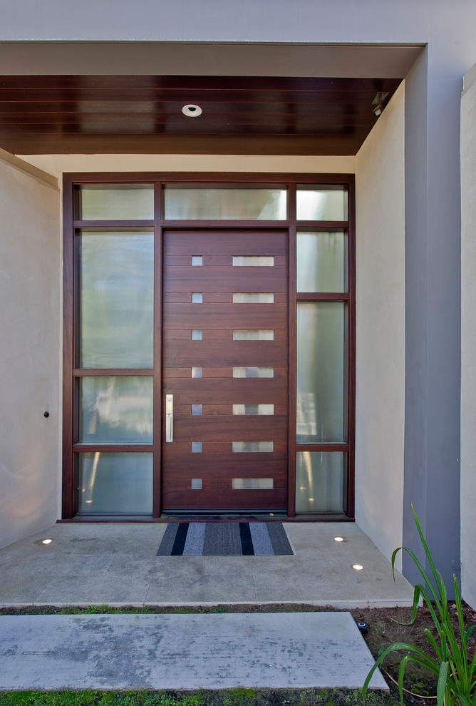 colonial front door with modern flavor and dark wood finishing
