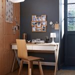 Contemporary Home Office Design Dark Grey Wall System Wall Organizer For Picture Frames Contemporary Working Table And Chair White Pendant Lamp In White Hardwood Walls