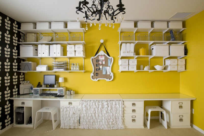 contemporary home office idea lightweight metal wall organizers white box storage units white working tables with drawer systems mustard yellow wall